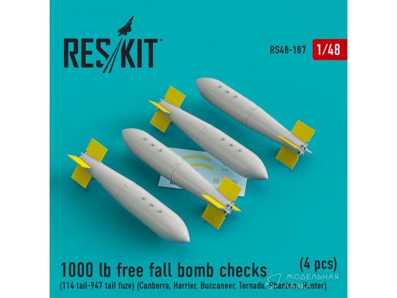 Свободнопадающая 1000-фунтовая бомба с хвостом Тип 114 и хвостовым взрывателем № 947 для Canberra, Harrier, Buccaneer, Tornado, Phantom, Hunter (4 штуки)